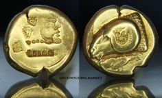 Heracles-and-Ram-Very-rare-Ancient-Greek-Gold-Coin-1-6-stater-Hecte-from-Lesbos
