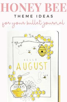 Honey bee themed bullet journal spread ideas that are perfect for the summer. Or any time of year but yellow bullet journal themes always remind me of the summer. Click to read more. August Bullet Journal Cover, Bullet Journal Cover Ideas, Bullet Journal Spread, Bullet Journal Lettering Ideas, Bullet Journal Notebook, Bullet Journal School, Bullet Journal Inspiration, Journal Ideas, Bullet Journal For Beginners