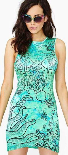 Lottie Hall Underwater Love Silk Dress