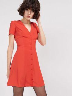 <p>Orange Button Through Waisted Dress</p>