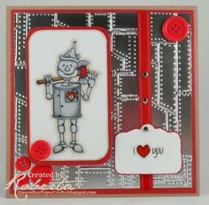 Doodle Pantry's Li'l Tin image + Riveted Metal embossing folder + Mirrored Reflective cardstock from Paper Temptress = 1 awesome Valentine's Day card!