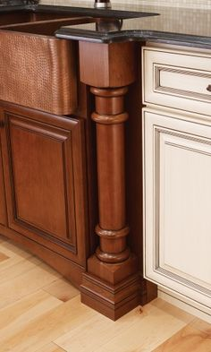 Covered Bridge Cabinetry- Two Toned French Style Kitchen Glass Front Cabinets, First Kitchen, French Country Style, Kitchen Cabinetry, Covered Bridges, Storage Solutions, Wood, Furniture, Home Decor