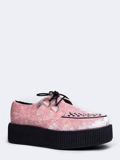 - Get these velvet creepers out for any daily event! - You'll love the versatile style of this fun flatform creeper with a laced up front and decorative stitching across the toes. - Non-skid sole and