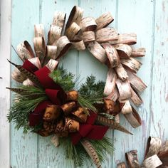 Birch bark Christmas wreath....This is a good technique, and could be replicated with various materials.