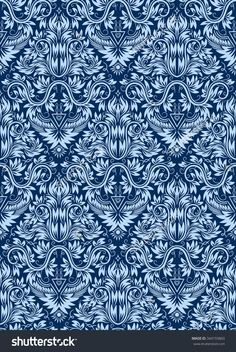 #Damask seamless #pattern repeating #background. Blue floral ornament in baroque style.