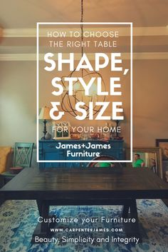 You don't need to be a designer to figure out what size table will work best in your space - click to learn our tips and tricks as you customize your solid wood furniture with James+James!   How do I measure my dining room? How much space does my dining room table need? Should I get a square dining table or a round dining table?How many people can I seat? Would a Trestle or Pedestal Table be better than a Farmhouse Table for my family? Is my dining room big enough for this table? What kind… Round Tables, Square Dining Tables, Dining Room Table, Dining Rooms, A Table, Custom Furniture, Wood Furniture, Turned Table Legs, Norfolk House