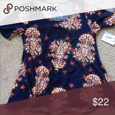 Lularoe Perfect t size large With tags, tried on, don't like the material black background with blue and orange designs LuLaRoe Tops Tees - Short Sleeve
