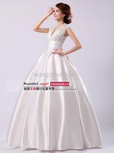 Wholesale 2013 show thin super high-end European and American version shoulders v-neck lace neat, trailing wedding dresses, Free shipping, $165.91/Piece   DHgate