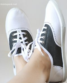 Faux saddle shoes you can make at home with paint! Great for Halloween!