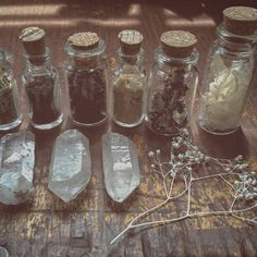 Just some jars #witch #witchcraft #witchy #witchyaesthetic #magic #witchaesthetic #magick #crystal #crystalgrid #quartz #grimoire #bookofshadows