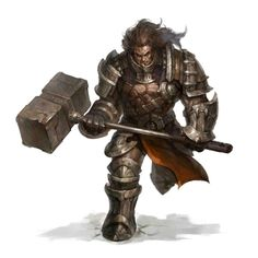 Male Human Earthbreaker Hammer Fighter - Pathfinder PFRPG DND D&D d20 fantasy