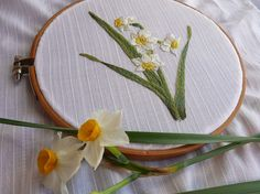 Narcissus   embroidery    needle-painting   日本水仙の刺繍