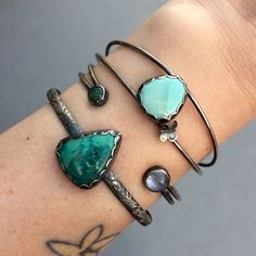 Stacked cuffs! Turquoise, rainbow moonstone, azurite, and chrysocolla // blueandblueshop.etsy.com