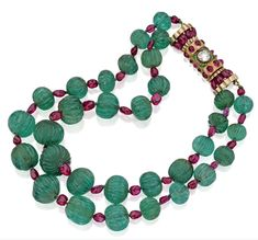 Carved Emerald, Ruby and Diamond Necklace  1940s  Sotheby's