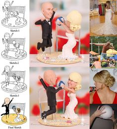 Sand volleyball wedding cake topper features a volleyball in bride's hands in setting position and groom in the air jumping ready to hit her set. Volleyball Cakes, Volleyball Party, Volleyball Ideas, Wedding Cake Toppers, Wedding Cakes, Got Married, Getting Married, Sports Wedding, Dream Wedding