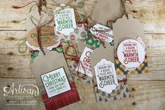 Create simple Christmas tags using the Wrapped in Warmth stamp set and Warmth & Cheer Designer Series Paper from Stampin' Up!
