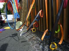 Sensory centre in the outdoor area. Ribbons, quoits, hoops.  Bright and colourful.