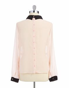 Women's Apparel | Blouses & Button Downs | Sheer Button Back Blouse | Lord and Taylor