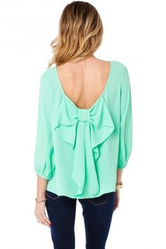 Coletta Bow Blouse in Mint...totally in love with this shirt!