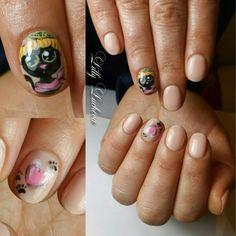 # Handpainted #Cat #Nail #Art #NailArt #Hat #Black