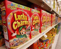 Characters on cereal are designed to make perfect eye contact for kids walking down the aisle.
