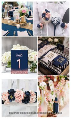 Classic Wedding Color Palettes to Steal: Navy Blue and Blush Navy Blush Weddings, Navy Blue And Gold Wedding, Blush Wedding Colors, Pink Wedding Theme, Navy Wedding Themes, Wedding Ideas, April Wedding Colors, Green Weddings, Blue Wedding Decorations