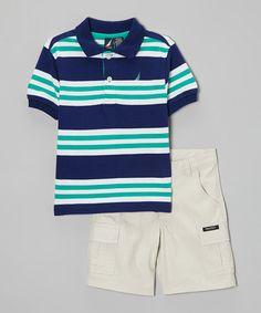 Look at this #zulilyfind! Navy & Jade Stripe Polo & Khaki Shorts - Toddler by Nautica #zulilyfinds
