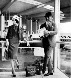 Waiting to board at the Pan Am Worldport JFK, early 60s.