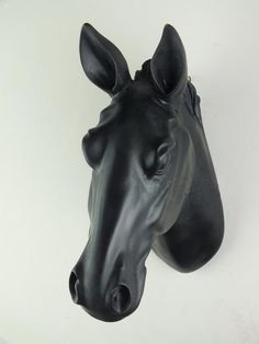 Black horse head, faux taxidermied, horse head, wall decor, wall hanging, wall mount, wall art, animal head, resin horse, art, home decor by FauxTaxidermyArt on Etsy