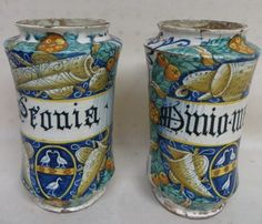 2 ancient Italian faience tin glazed apothecary jars.