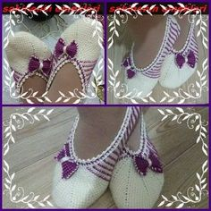 This Pin was discovered by Zek Knitted Slippers, Crochet Art, Crochet Slippers, Cotton Crochet, Knit Or Crochet, Crochet Bikini, Crochet Patterns, Knit Leg Warmers, Tunisian Crochet