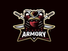"Mascot logo design for ""Player Armory"" featuring a samurai with crossed swords."