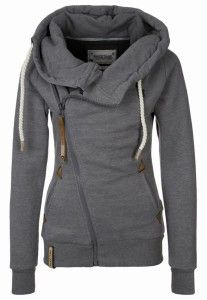 asymmetrical zip hoodie -- love this, even in gray. Looks more the thickness of a jacket than a sweater.
