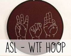 I Love You Sign Language Embroidery Hoop Art. by ThePhantomMoon