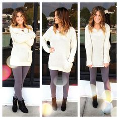 Find this cozy sweater and knit gray leggings at Apricot Lane Boutique, Virginia Beach.