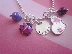Personalized Purple Ladybug Love Charm Necklace for Little Love Bugs, Boutique QUALITY charms used