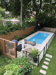 Small Inground Pool, Small Swimming Pools, Backyard Pool Landscaping, Small Backyard Landscaping, Swimming Pools Backyard, Swimming Pool Designs, Narrow Backyard Ideas, Pools For Small Yards, Swimming Tips