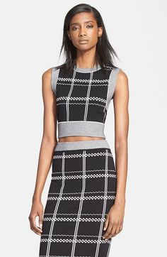 A.L.C. 'Scott' Embroidered Check Crop Top available at #Nordstrom