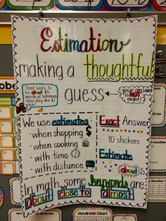 An estimation anchor chart to organize thinking about the use of estimation in math and everyday life. {no link, but great chart/visual! Math Charts, Math Anchor Charts, Rounding Anchor Chart, Fourth Grade Math, Second Grade Math, Grade 2, Math Night, Professor, Math School