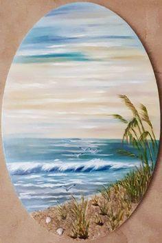 Sea & beach Painting Lessons, Painting & Drawing, Bob Ross Paintings, Rock Painting Designs, Rock Design, Beach Art, Stone Art, Rock Art, Painting Inspiration