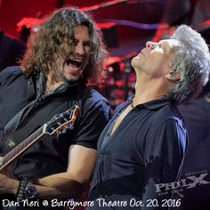 """Phil X with Bon Jovi at the """"This House Is Not For Sale"""" private listening party at the Barrymore Theater in NYC"""