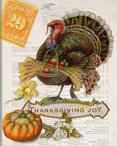 Paper Thanksgiving Turkey Print
