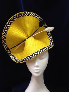 "Crisp, clean, clear color—this is certainly a ""Notice Me"" hat! Not-So-Mellow-Yellow hat by Melissa-Gaye Designs. Wedding Hats For Guests, Millinery Hats, Cocktail Hat, Fancy Hats, Kentucky Derby Hats, Love Hat, Saint Laurent, Dress Hats, Mellow Yellow"