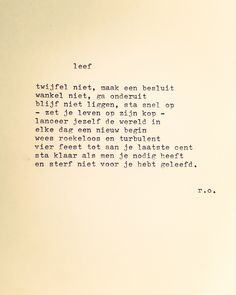 Uitgetypt gedicht – Leef – René Oskam
