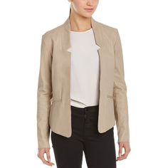 Mackage Mackage Ranya Leather Blazer (397876701) ($265) ❤ liked on Polyvore featuring outerwear, jackets, blazers, neutral, leather blazers, pattern jacket, drape front blazer, pink leather jacket and pink blazer jacket