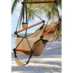 New Deluxe Tan Sky Air Chair Swing Hanging Hammock Chair W/ Pillow & Drink Holder.  For backyard