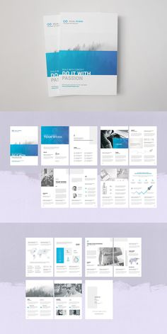 Clean, modern and simple design ideal for your company and also customizable for many purposes. Take control of your company promotions with this fully editable multipurpose brochure template. Simply drop your images and texts a Corporate Brochure Design, Company Brochure, Business Brochure, Corporate Business, Report Layout, Report Design, Web Design, Layout Design, Company Profile Design