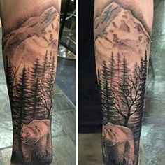 Brilliant Mountains With Bear And Tree Tattoo On Arm Sleeve