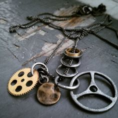 Gear  mens unisex industrial steampunk mixed by inkfinesse on Etsy