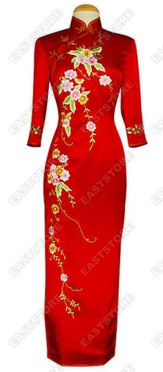 This Well-off Floral Embroidery 3/4-Length Silk Cheongsam radiates refined elegance and graceful...